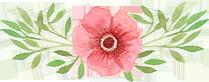 Dessin d'une fleur rose avec des feuilles vertes