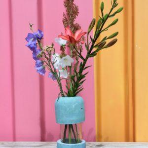 Duo vase béton + bouquet